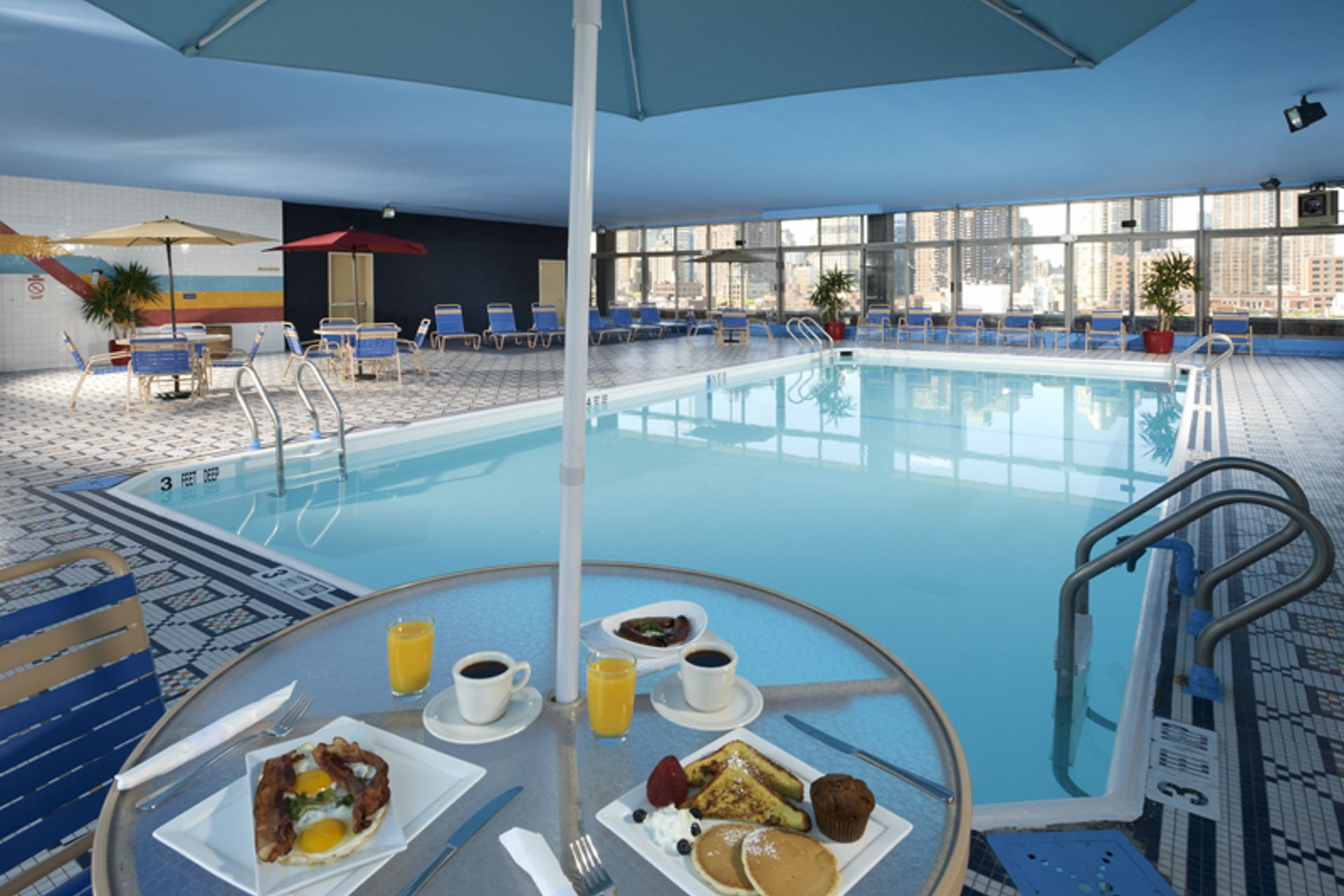 Breakfast by a indoor pool in NYC